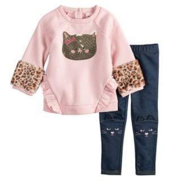Little Lass Other - Cat Sequin Glitter Sweatshirt/Embroidered Jeggings